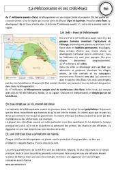 Mésopotamie et ses cités – états – Exercices corrigés – Orient Ancien : 6eme Primaire