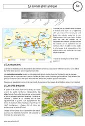 Le monde grec antique – Cours – Civilisation grecque : 6eme Primaire