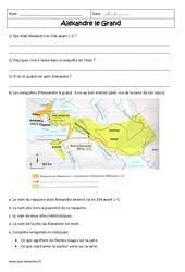 Alexandre le grand – Exercices corrigés – Civilisation grecque : 6eme Primaire