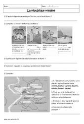 La république romaine – Exercices corrigés – Rome : 6eme Primaire