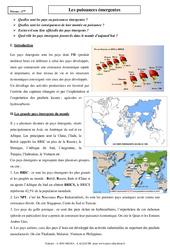 Puissances émergentes – Cours – Géographie : 2eme Secondaire