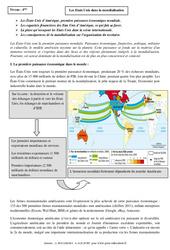 Etats Unis dans la mondialisation – Cours – Géographie : 2eme Secondaire
