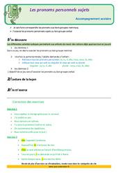 Les pronoms personnels sujets – Soutien scolaire – Aide aux devoirs : 3eme Primaire
