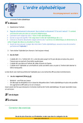 L'ordre alphabétique – Soutien scolaire – Aide aux devoirs : 3eme Primaire