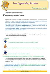 Types de phrases – Soutien scolaire – Aide aux devoirs : 3eme Primaire