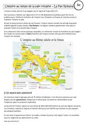 Pax romana – Cours – L'empire au temps de la paix romaine – Rome : 6eme Primaire