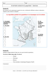 Le territoire national et sa population – Exercices corrigés – La France : 3eme Secondaire