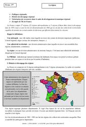 La région – Cours – La France : 3eme Secondaire