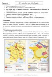 Organisation du territoire français – Cours – Géographie : 3eme Secondaire
