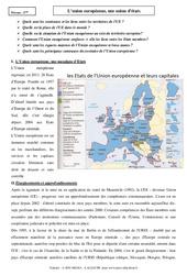 L'union européenne, une union d'états – Cours – Géographie : 3eme Secondaire