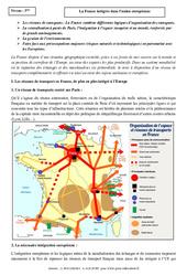 La France intégrée dans l'union européenne – Cours – Géographie : 3eme Secondaire