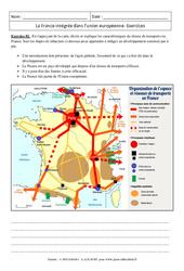 La France intégrée dans l'union européenne – Exercices corrigés – Géographie : 3eme Secondaire