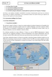 La France, une influence mondiale – Cours – Géographie : 3eme Secondaire