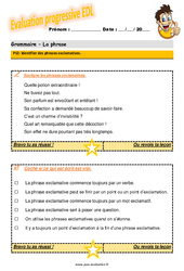 Identifier des phrases exclamatives au CM1 – Evaluation progressive avec la correction