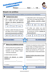 Résoudre des problèmes relevant d'additions, de soustractions et de multiplications – Evaluation progressive à imprimer au CE2