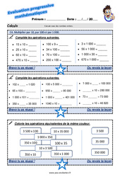 Multiplier par 10, par 100 et par 1 000 au CM1 – Evaluation progressive