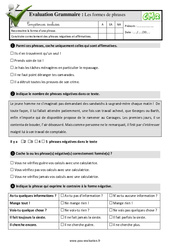 Les formes de phrases au Cm2 – Evaluation: QCM – Quiz