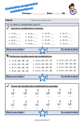 Les tables de multiplication jusqu'à 9 au Cm2 – Evaluation progressive
