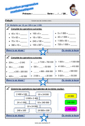 Multiplier par 10, par 100 et par 1 000 au Cm2 – Evaluation progressive