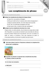 Les compléments de phrase - CM2 - Evaluation - Bilan