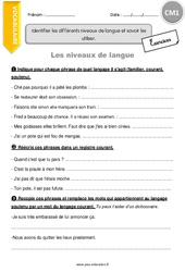 Identifier les différents niveaux de langue et savoir les utiliser - CM1 - Exercices à imprimer