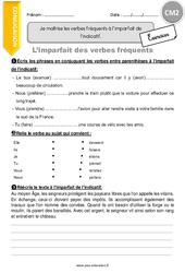 Je maîtrise les verbes fréquents à l'imparfait de l'indicatif – CM2 – Exercices avec correction