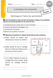 Je sais distinguer l'aire et le périmètre – CM2 – Exercices à imprimer