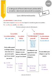 Je distingue les différents déterminants: démonstratifs et possessifs. - CM2 - Leçon