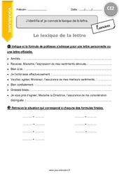 J'identifie et je connais le lexique de la lettre – CE2 – Exercices à imprimer