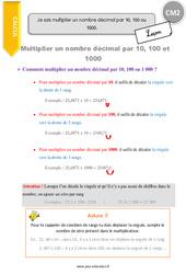 Je sais multiplier un nombre décimal par 10, 100 ou 1000. – CM2 – Leçon