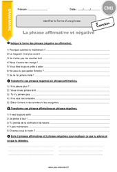 Identifier la forme d'une phrase – CM1 – Exercices à imprimer