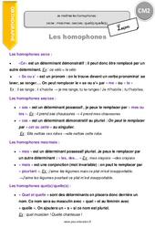 Je maîtrise les homophones : ce/se ; mais/mes ; ses/ces ; quel(s)/quelle(s). - CM2 - Leçon