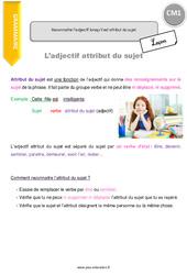 Reconnaitre l'adjectif lorsqu'il est attribut du sujet. - CM1 - Leçon