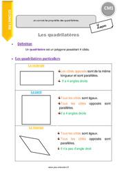 Je connais les propriétés des quadrilatères. – CM1 – Leçon