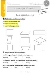 Je connais les propriétés des quadrilatères. – CM1 – Exercices avec correction