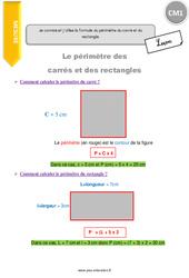 Je connais et j'utilise la formule du périmètre du carré et du rectangle. – CM1 – Leçon