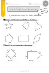 Je sais identifier le périmètre d'une figure géométrique – CM2 – Exercices avec correction