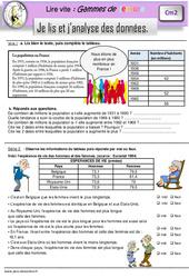 Je lis et j'analyse des données - CM2 - Gamme de lecture