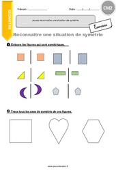 Je sais reconnaitre une situation de symétrie – CM2 – Exercices avec correction