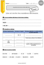 Je sais lire et écrire les nombres décimaux – CM2 – Exercices à imprimer