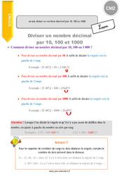 Je sais diviser un nombre décimal par 10, 100 ou 1000 – CM2 – Leçon