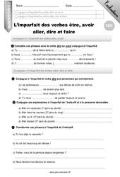 L'imparfait des verbes etre, avoir,aller, dire, faire – CM1 – Evaluation – Bilan
