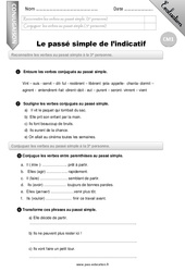Le passé simple – CM1 – Evaluation – Bilan