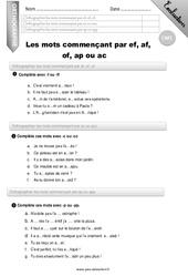 Les mots commencant par ef, af, of, ac,op,ap - CM1 - Evaluation - Bilan