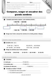 Comparer, ranger et encadrer des grands nombres - CM2 - Evaluation - Bilan