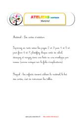 Table à doigts addition– Liste des matériaux