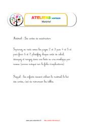 Table à doigts soustraction – Liste des matériaux