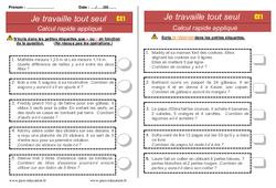 Documents d'autonomie à imprimer – CE1- Elève en répartition