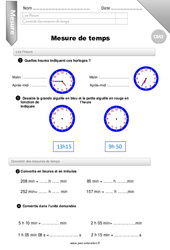 Mesure de temps - CM2 - Evaluation - Bilan