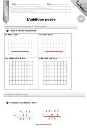 Addition posée - CM2 - Evaluation - Bilan